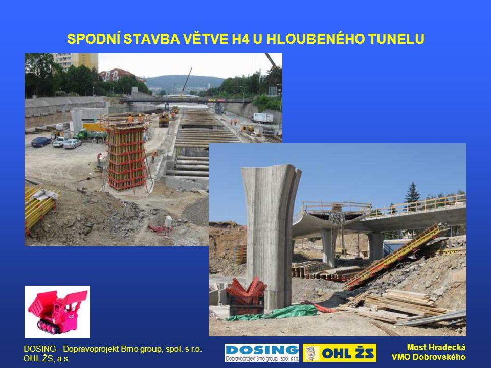 DOSING - Dopravoprojekt Brno group, spol. s r.o. OHL ŽS, a.s. Most Hradecká VMO Dobrovského SPODNÍ STAVBA VĚTVE H4 U HLOUBENÉHO TUNELU