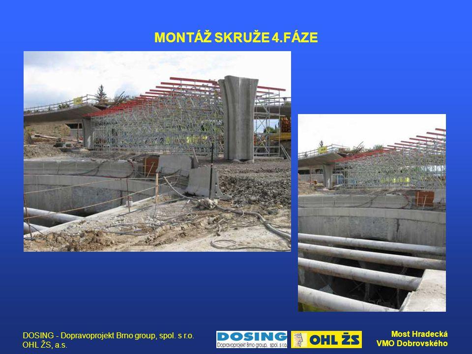 DOSING - Dopravoprojekt Brno group, spol. s r.o. OHL ŽS, a.s. Most Hradecká VMO Dobrovského MONTÁŽ SKRUŽE 4.FÁZE