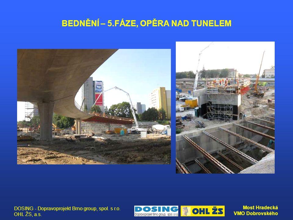 DOSING - Dopravoprojekt Brno group, spol. s r.o. OHL ŽS, a.s. Most Hradecká VMO Dobrovského BEDNĚNÍ – 5.FÁZE, OPĚRA NAD TUNELEM