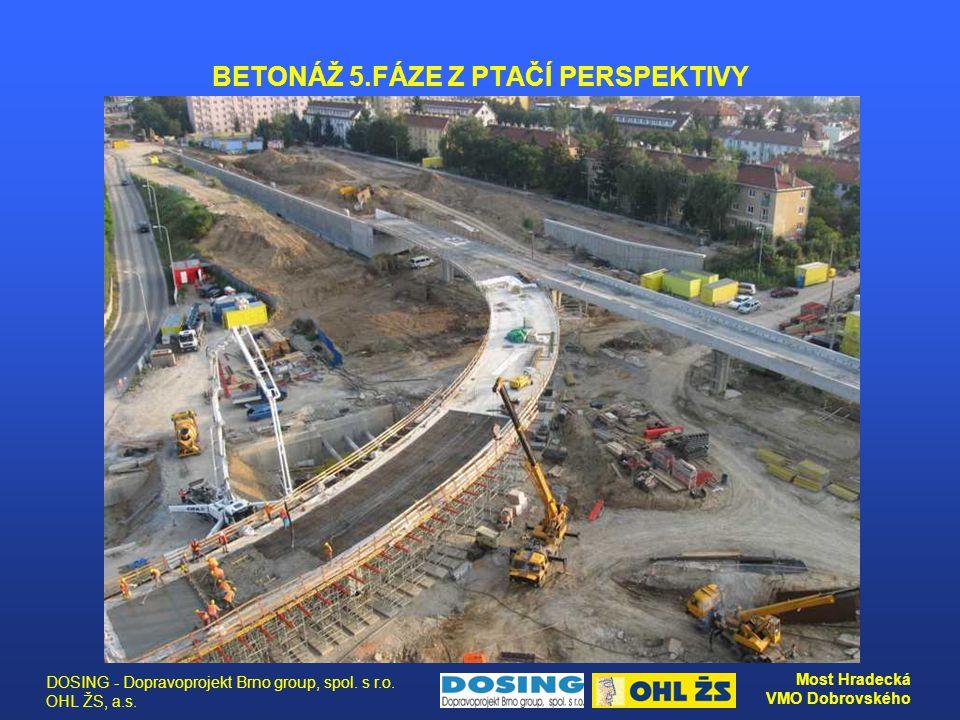 DOSING - Dopravoprojekt Brno group, spol. s r.o. OHL ŽS, a.s. Most Hradecká VMO Dobrovského BETONÁŽ 5.FÁZE Z PTAČÍ PERSPEKTIVY