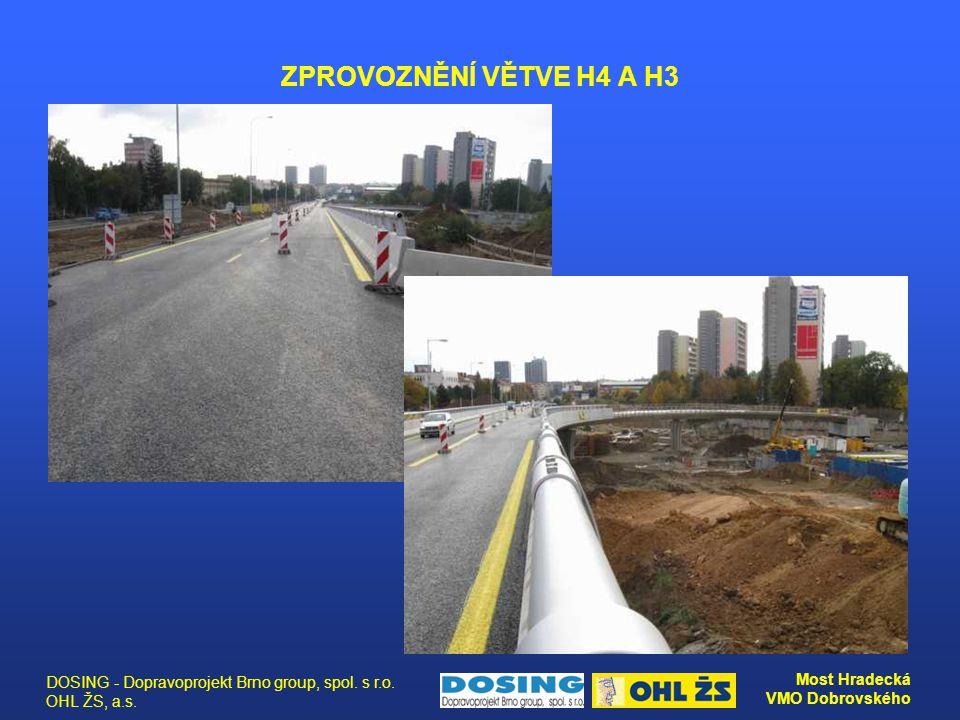 DOSING - Dopravoprojekt Brno group, spol. s r.o. OHL ŽS, a.s. Most Hradecká VMO Dobrovského ZPROVOZNĚNÍ VĚTVE H4 A H3