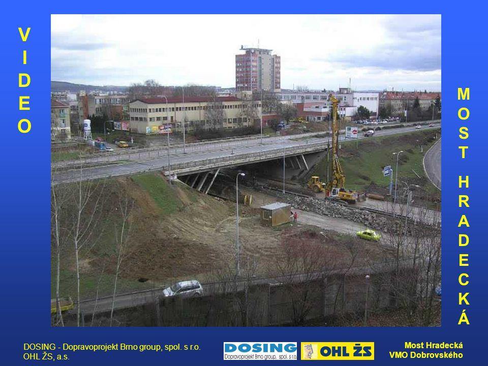 DOSING - Dopravoprojekt Brno group, spol. s r.o. OHL ŽS, a.s. Most Hradecká VMO Dobrovského MOSTHRADECKÁMOSTHRADECKÁ VIDEO VIDEO