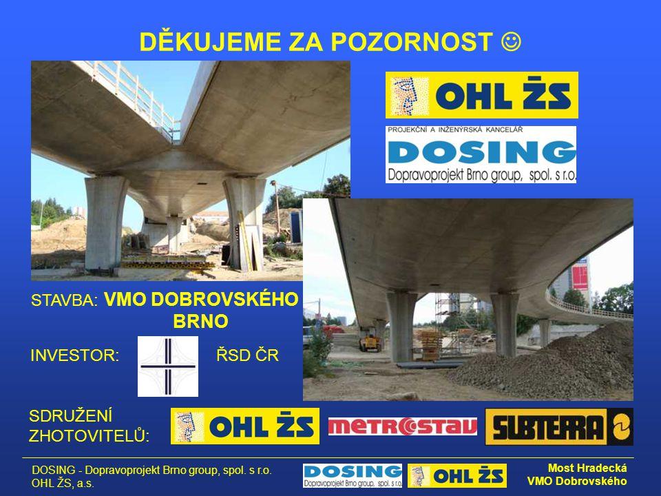 DOSING - Dopravoprojekt Brno group, spol. s r.o. OHL ŽS, a.s. Most Hradecká VMO Dobrovského DĚKUJEME ZA POZORNOST  INVESTOR:ŘSD ČR SDRUŽENÍ ZHOTOVITE