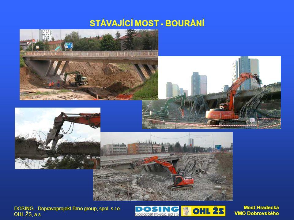 DOSING - Dopravoprojekt Brno group, spol. s r.o. OHL ŽS, a.s. Most Hradecká VMO Dobrovského STÁVAJÍCÍ MOST - BOURÁNÍ