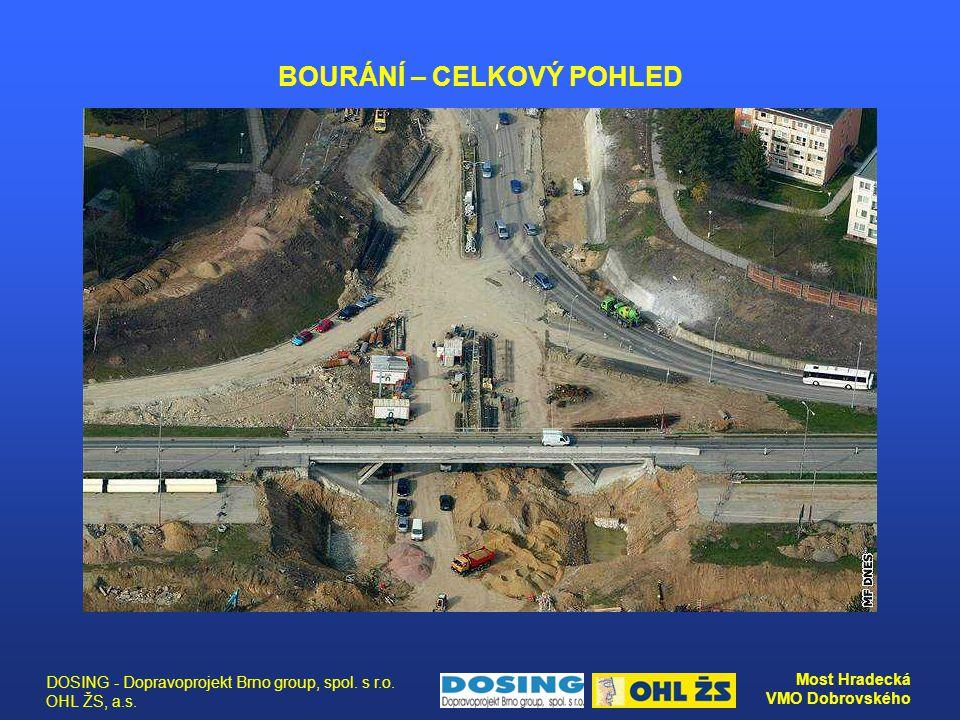 DOSING - Dopravoprojekt Brno group, spol. s r.o. OHL ŽS, a.s. Most Hradecká VMO Dobrovského BOURÁNÍ – CELKOVÝ POHLED