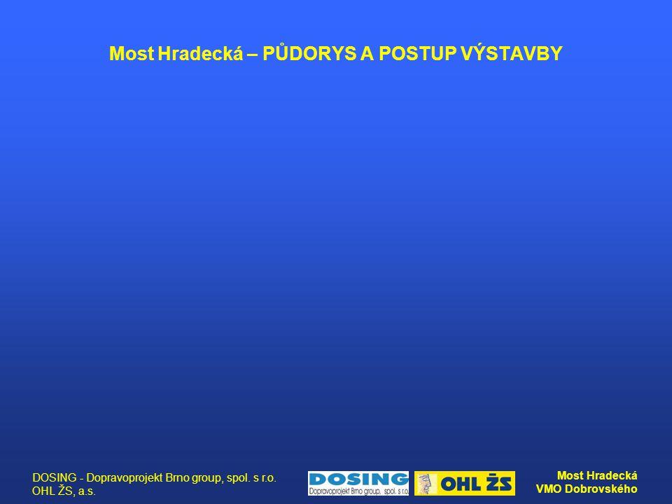 DOSING - Dopravoprojekt Brno group, spol. s r.o. OHL ŽS, a.s. Most Hradecká VMO Dobrovského Most Hradecká – PŮDORYS A POSTUP VÝSTAVBY