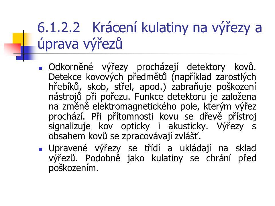 6.1.2.2Krácení kulatiny na výřezy a úprava výřezů PPodle toho, jak dlouhé řezivo se má vyrábět, se kulatina příčně dělí, tj. krátí na výřezy. Před k