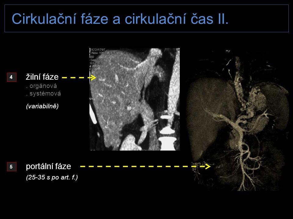 Cirkulační fáze a cirkulační čas II. 4 5 žilní fáze. orgánová. systémová portální fáze (variabilně) (25-35 s po art. f.)