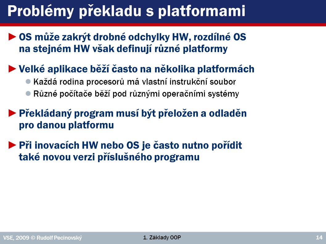 1. Základy OOP VSE, 2009 © Rudolf Pecinovský 14 Problémy překladu s platformami ►OS může zakrýt drobné odchylky HW, rozdílné OS na stejném HW však def