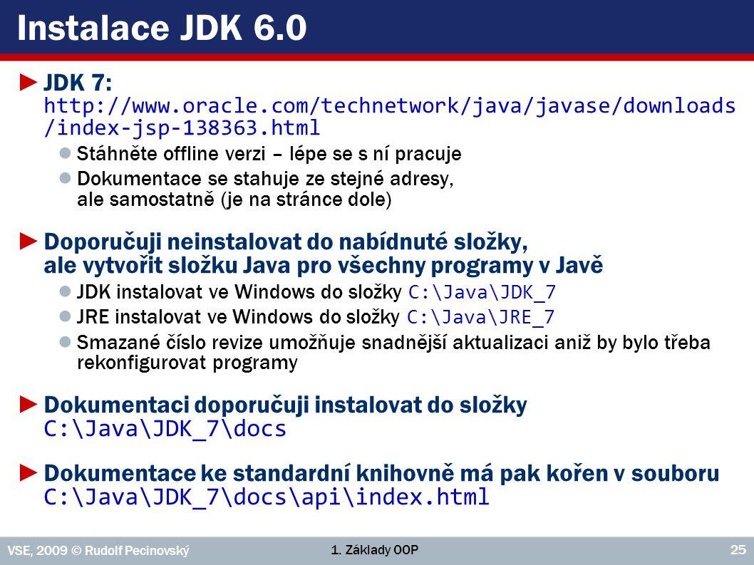 1. Základy OOP VSE, 2009 © Rudolf Pecinovský 25 Instalace JDK 6.0 ►JDK 7: http://www.oracle.com/technetwork/java/javase/downloads /index-jsp-138363.ht