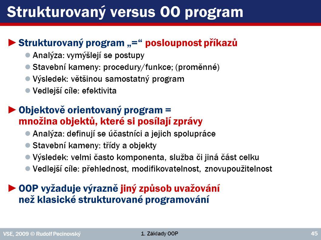 """1. Základy OOP VSE, 2009 © Rudolf Pecinovský 45 Strukturovaný versus OO program ►Strukturovaný program """"="""" posloupnost příkazů ● Analýza: vymýšlejí se"""