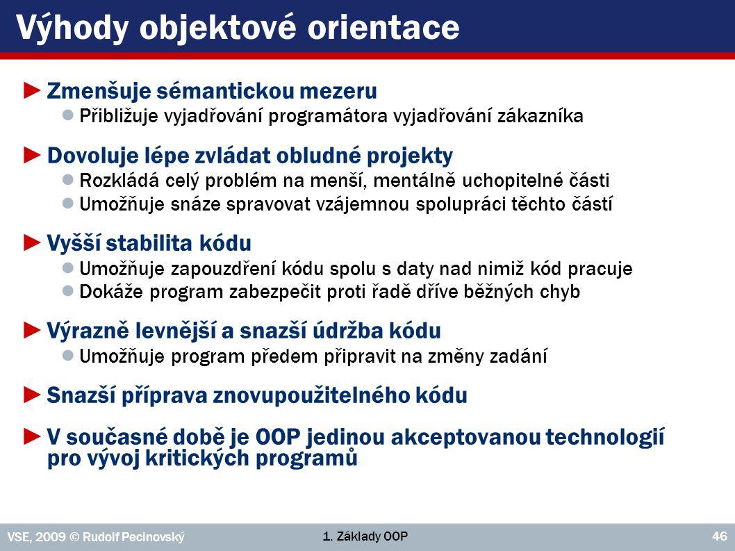 1. Základy OOP VSE, 2009 © Rudolf Pecinovský 46 Výhody objektové orientace ►Zmenšuje sémantickou mezeru ● Přibližuje vyjadřování programátora vyjadřov