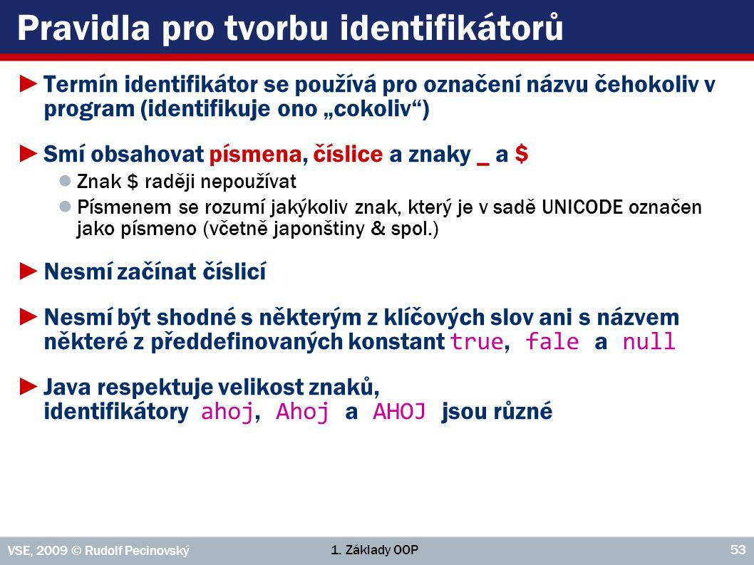 1. Základy OOP VSE, 2009 © Rudolf Pecinovský 53 Pravidla pro tvorbu identifikátorů ►Termín identifikátor se používá pro označení názvu čehokoliv v pro