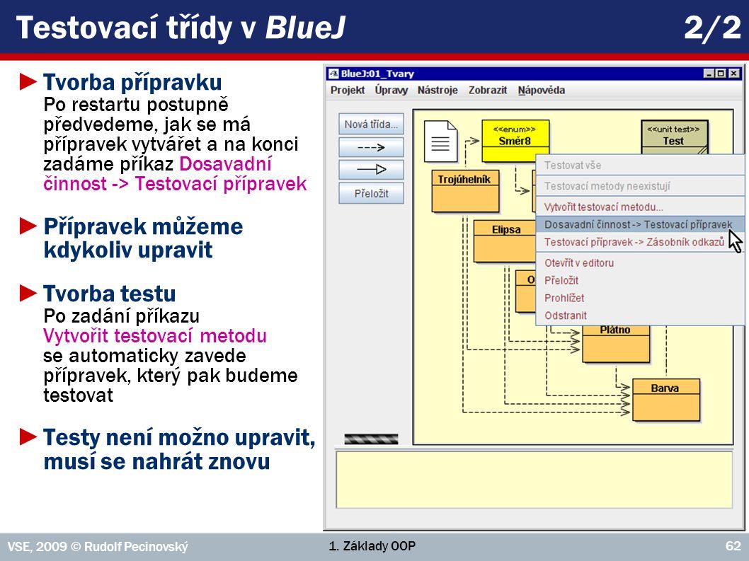 1. Základy OOP VSE, 2009 © Rudolf Pecinovský 62 Testovací třídy v BlueJ 2/2 ►Tvorba přípravku Po restartu postupně předvedeme, jak se má přípravek vyt