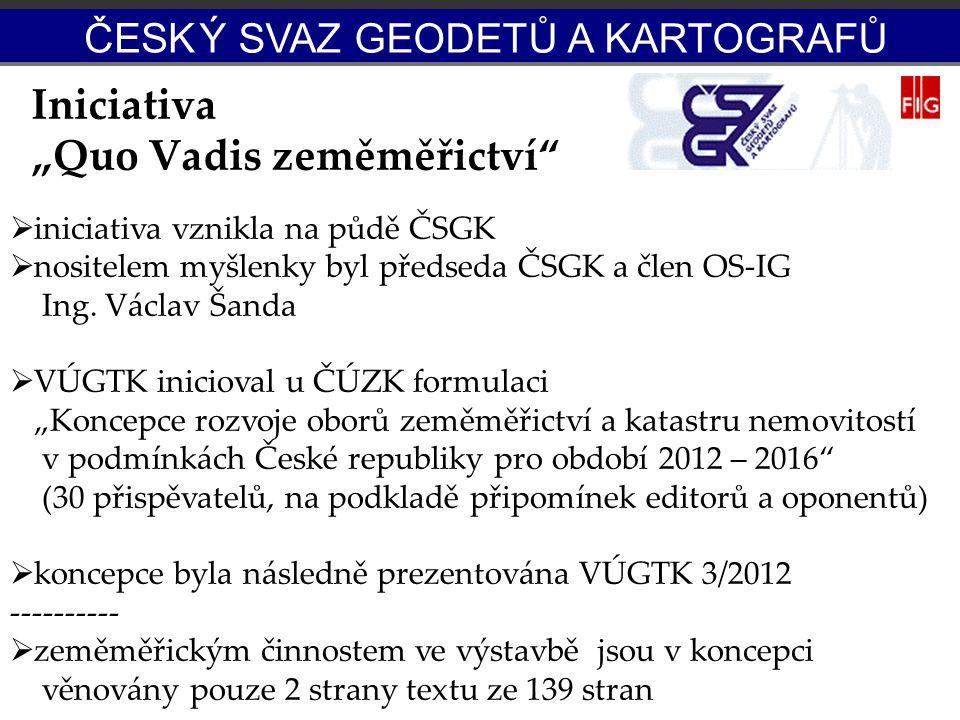 """Iniciativa """"Quo Vadis zeměměřictví""""  iniciativa vznikla na půdě ČSGK  nositelem myšlenky byl předseda ČSGK a člen OS-IG Ing. Václav Šanda  VÚGTK in"""