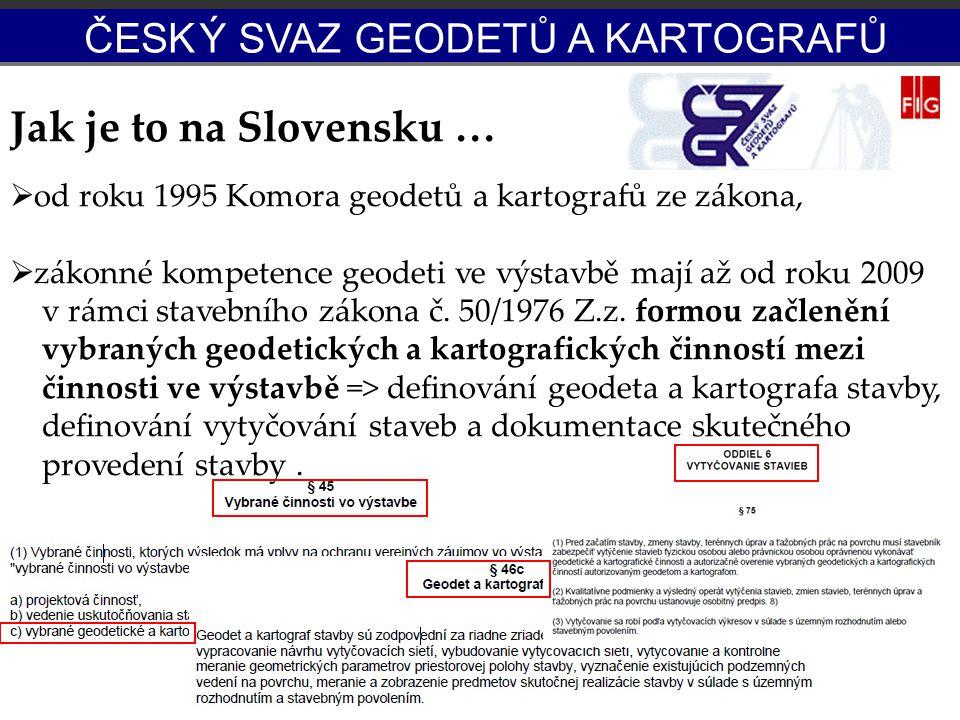 Jak je to na Slovensku …  od roku 1995 Komora geodetů a kartografů ze zákona,  zákonné kompetence geodeti ve výstavbě mají až od roku 2009 v rámci s