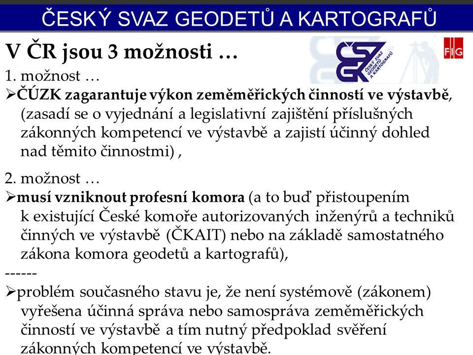 V ČR jsou 3 možnosti … 1. možnost …  ČÚZK zagarantuje výkon zeměměřických činností ve výstavbě, (zasadí se o vyjednání a legislativní zajištění přísl