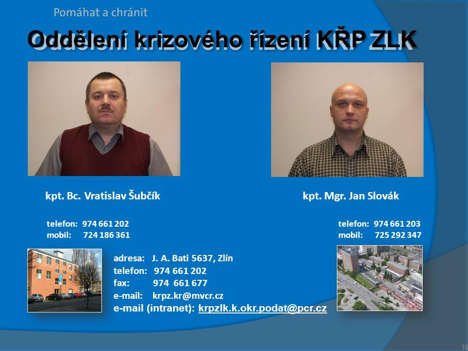 kpt. Bc. Vratislav Šubčíkkpt. Mgr. Jan Slovák Oddělení krizového řízení KŘP ZLK adresa: J. A. Bati 5637, Zlín telefon: 974 661 202 fax: 974 661 677 e-