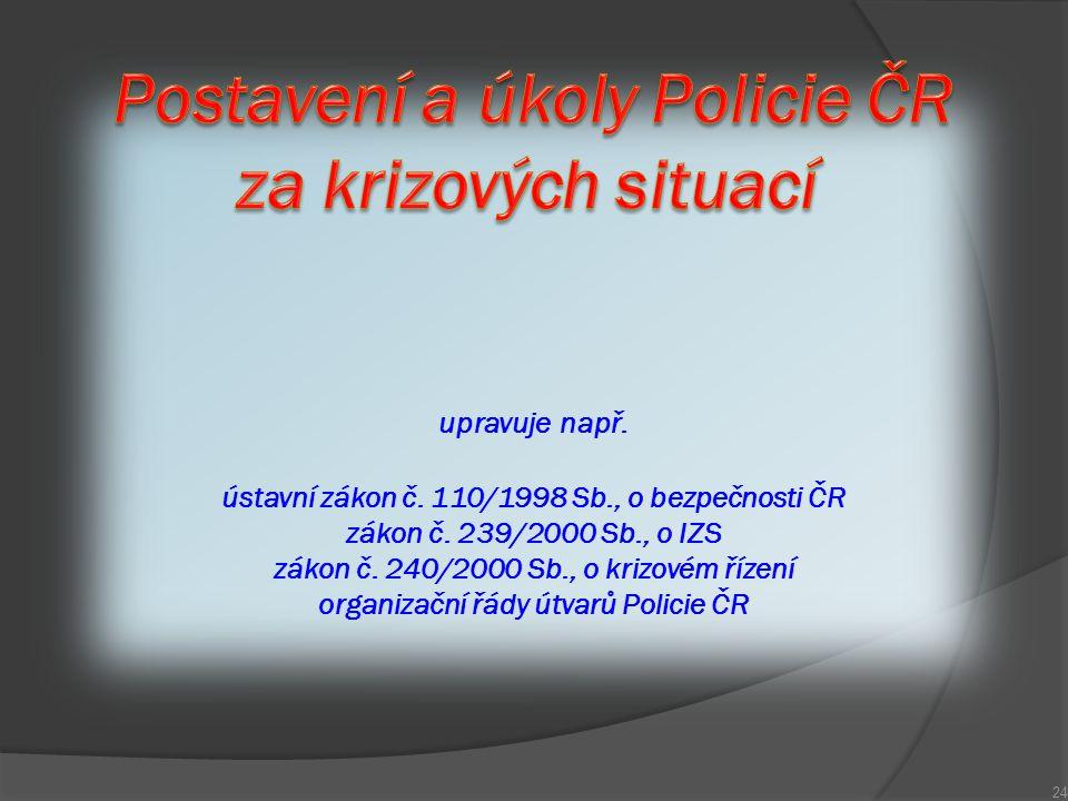 upravuje např. ústavní zákon č. 110/1998 Sb., o bezpečnosti ČR zákon č. 239/2000 Sb., o IZS zákon č. 240/2000 Sb., o krizovém řízení organizační řády