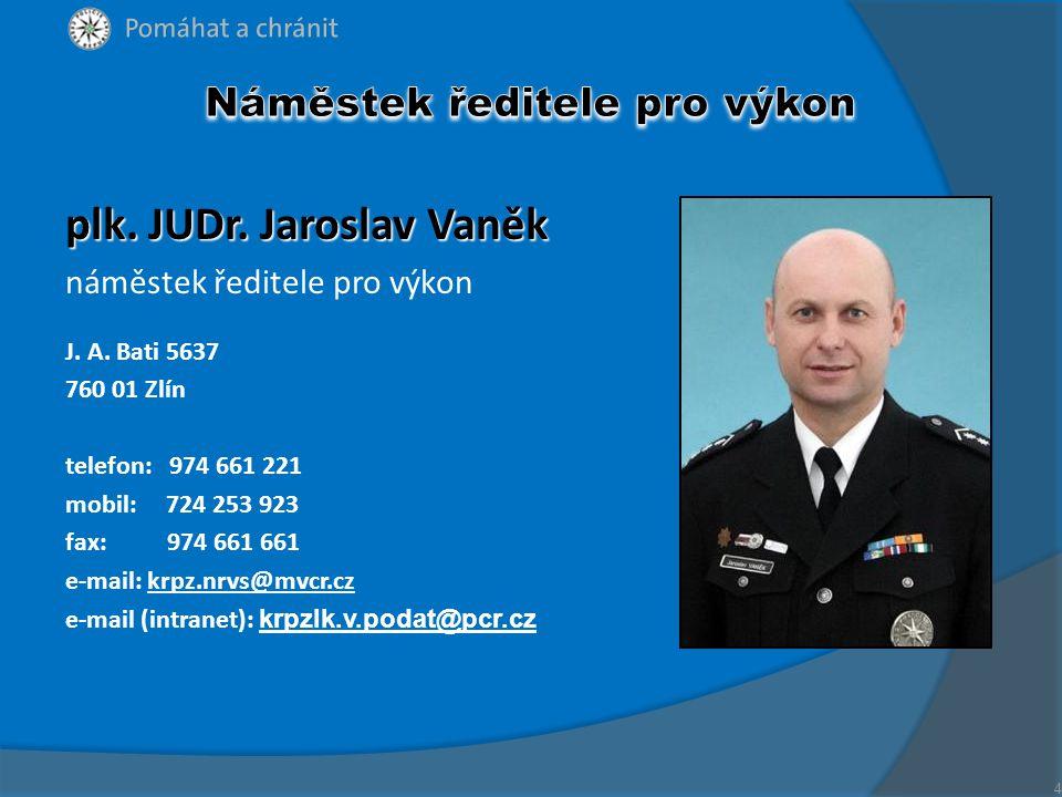plk. JUDr. Jaroslav Vaněk náměstek ředitele pro výkon J. A. Bati 5637 760 01 Zlín telefon: 974 661 221 mobil: 724 253 923 fax: 974 661 661 e-mail: krp