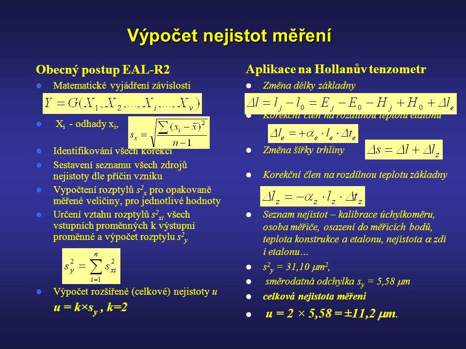 Výpočet nejistot měření Obecný postup EAL-R2  Matematické vyjádření závislosti  X i - odhady x i,  Identifikování všech korekcí  Sestavení seznamu všech zdrojů nejistoty dle příčin vzniku  Vypočtení rozptylů s 2 x pro opakovaně měřené veličiny, pro jednotlivé hodnoty  Určení vztahu rozptylů s 2 xi všech vstupních proměnných k výstupní proměnné a výpočet rozptylu s 2 y  Výpočet rozšířené (celkové) nejistoty u u = k×s y, k=2 Aplikace na Hollanův tenzometr  Změna délky základny  Korekční člen na rozdílnou teplotu etalonu  Změna šířky trhliny  Korekční člen na rozdílnou teplotu základny  Seznam nejistot – kalibrace úchylkoměru, osoba měřiče, osazení do měřicích bodů, teplota konstrukce a etalonu, nejistota  zdi i etalonu…  s 2 y = 31,10  m 2,  směrodatná odchylka s y = 5,58  m  celková nejistota měření  u = 2 × 5,58 = ±11,2  m.