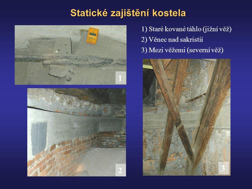 Statické zajištění kostela 1) Staré kované táhlo (jižní věž) 1 2 3 2) Věnec nad sakristií 3) Mezi věžemi (severní věž)