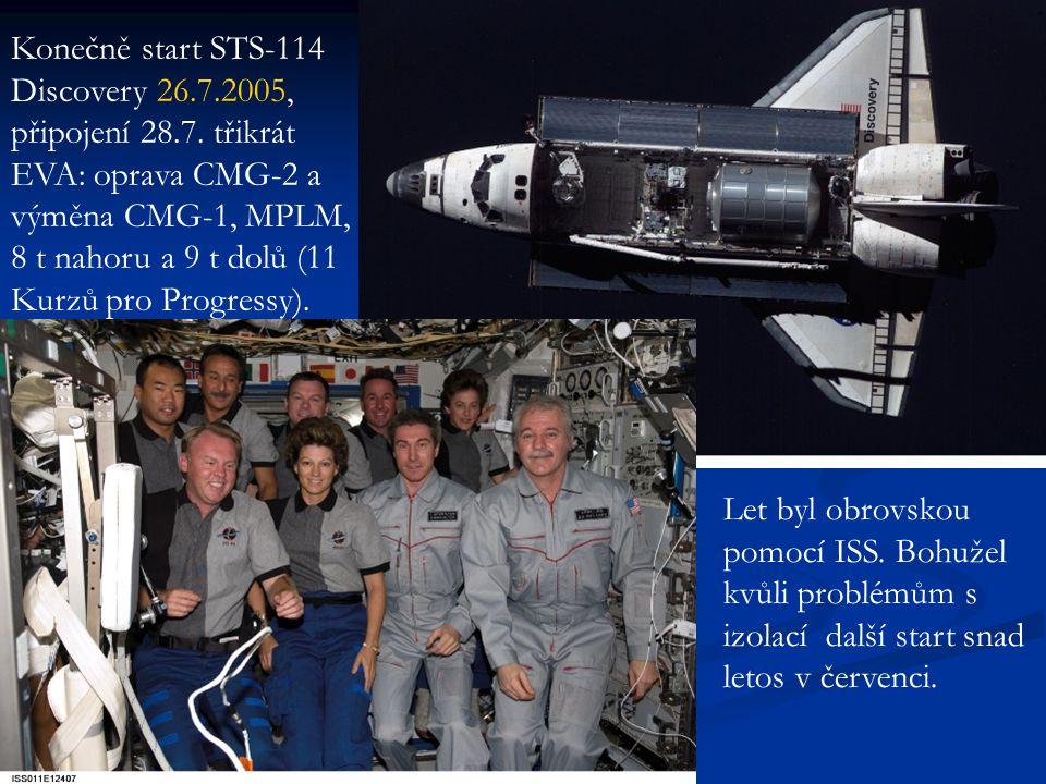 Konečně start STS-114 Discovery 26.7.2005, připojení 28.7. třikrát EVA: oprava CMG-2 a výměna CMG-1, MPLM, 8 t nahoru a 9 t dolů (11 Kurzů pro Progres