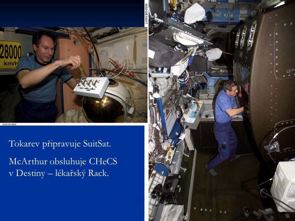 Tokarev připravuje SuitSat. McArthur obsluhuje CHeCS v Destiny – lékařský Rack.