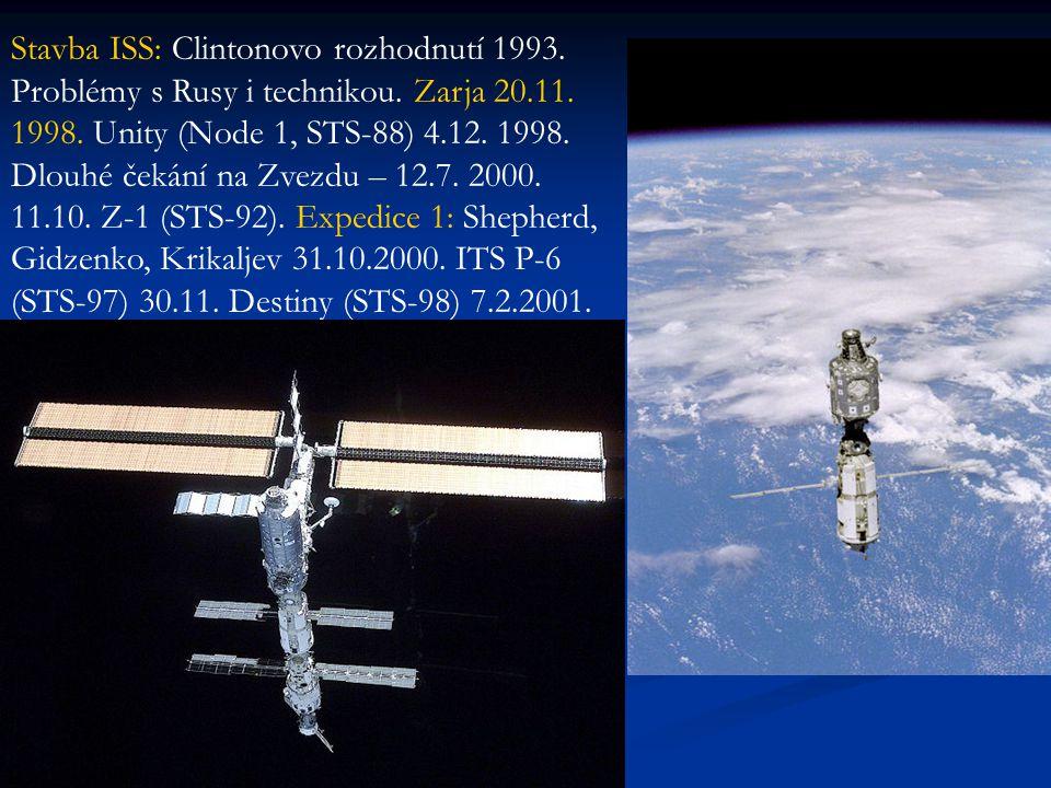 Stavba ISS: Clintonovo rozhodnutí 1993. Problémy s Rusy i technikou. Zarja 20.11. 1998. Unity (Node 1, STS-88) 4.12. 1998. Dlouhé čekání na Zvezdu – 1
