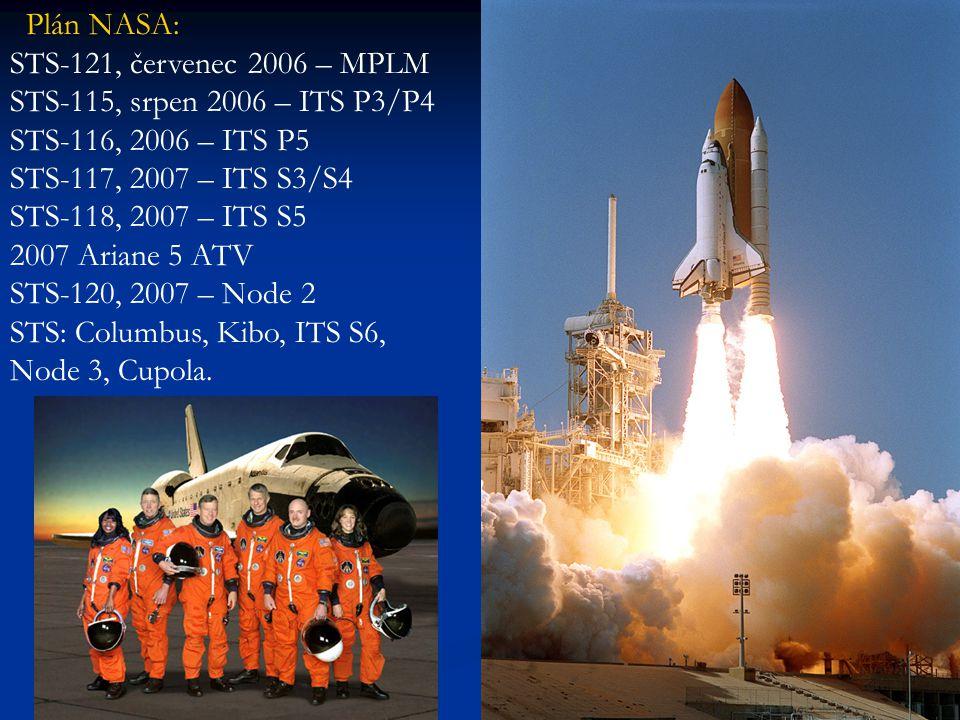 Plán NASA: STS-121, červenec 2006 – MPLM STS-115, srpen 2006 – ITS P3/P4 STS-116, 2006 – ITS P5 STS-117, 2007 – ITS S3/S4 STS-118, 2007 – ITS S5 2007