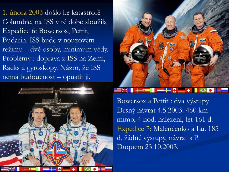 1. února 2003 došlo ke katastrofě Columbie, na ISS v té době sloužila Expedice 6: Bowersox, Pettit, Budarin. ISS bude v nouzovém režimu – dvě osoby, m