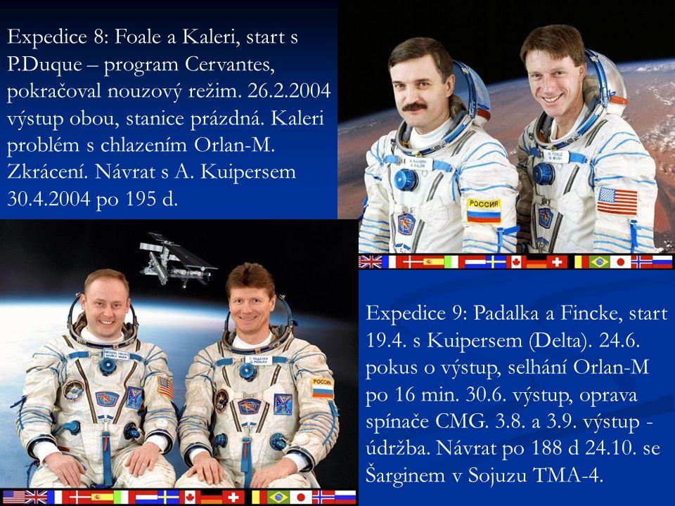 Expedice 8: Foale a Kaleri, start s P.Duque – program Cervantes, pokračoval nouzový režim. 26.2.2004 výstup obou, stanice prázdná. Kaleri problém s ch
