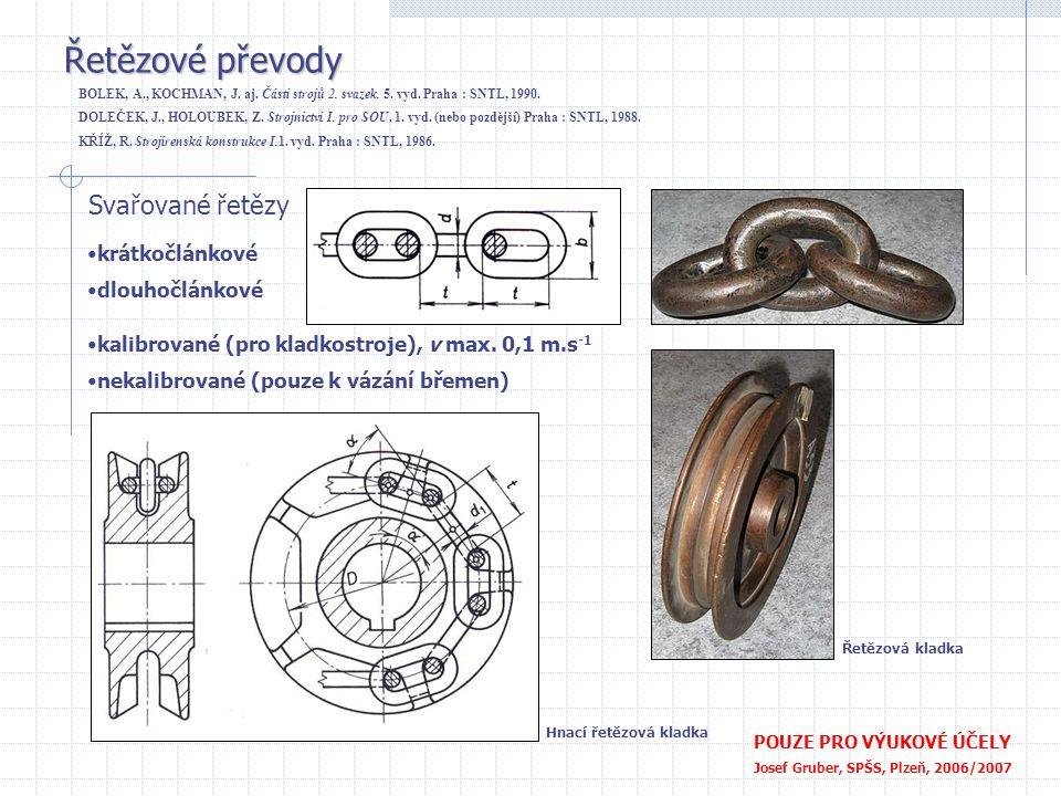Řetězové převody POUZE PRO VÝUKOVÉ ÚČELY Josef Gruber, SPŠS, Plzeň, 2006/2007 Svařované řetězy •krátkočlánkové •dlouhočlánkové •kalibrované (pro kladk