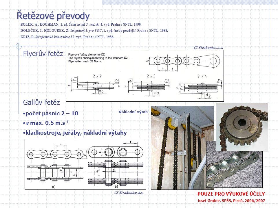 Řetězové převody POUZE PRO VÝUKOVÉ ÚČELY Josef Gruber, SPŠS, Plzeň, 2006/2007 Flyerův řetěz Gallův řetěz •počet pásnic 2 – 10 •v max. 0,5 m.s -1 •klad