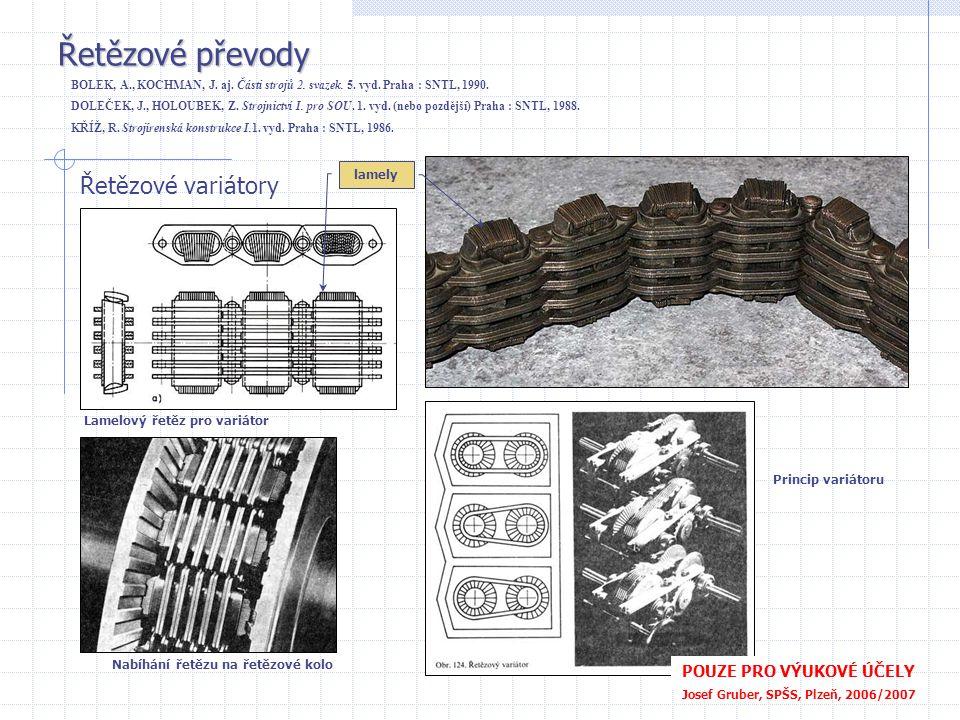 Řetězové převody Řetězové variátory Lamelový řetěz pro variátor Nabíhání řetězu na řetězové kolo Princip variátoru lamely POUZE PRO VÝUKOVÉ ÚČELY Jose