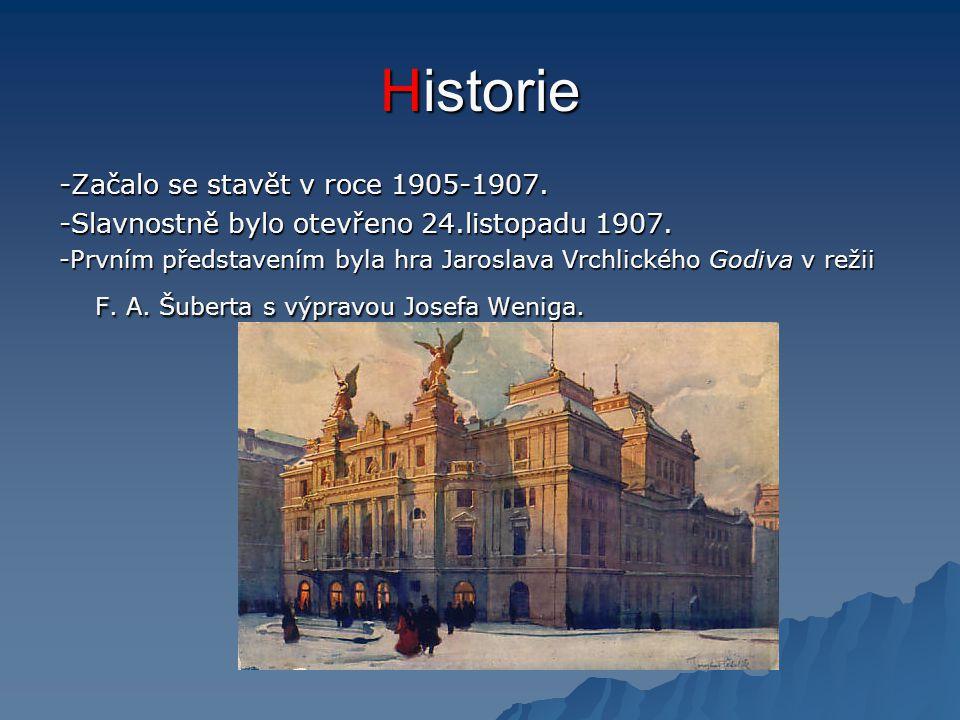 Historie -Začalo se stavět v roce 1905-1907. -Slavnostně bylo otevřeno 24.listopadu 1907. -Prvním představením byla hra Jaroslava Vrchlického Godiva v