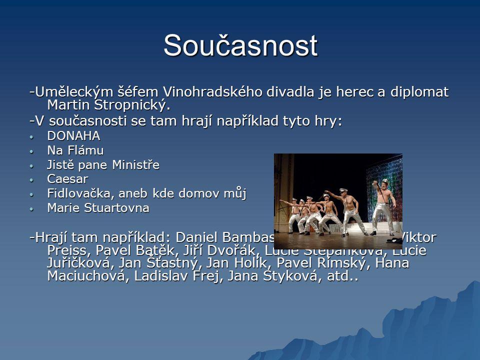 Současnost -Uměleckým šéfem Vinohradského divadla je herec a diplomat Martin Stropnický. -V současnosti se tam hrají například tyto hry: • DONAHA • Na