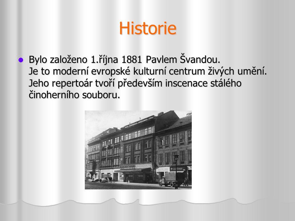 Historie  Bylo založeno 1.října 1881 Pavlem Švandou. Je to moderní evropské kulturní centrum živých umění. Jeho repertoár tvoří především inscenace s