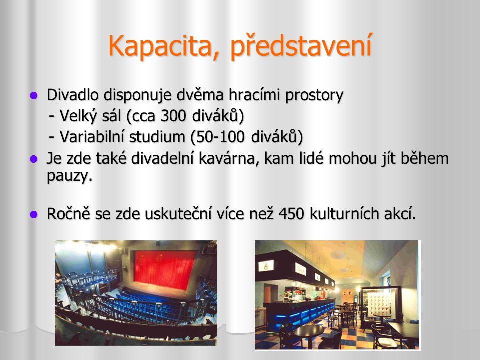 Kapacita, představení  Divadlo disponuje dvěma hracími prostory - Velký sál (cca 300 diváků) - Velký sál (cca 300 diváků) - Variabilní studium (50-10