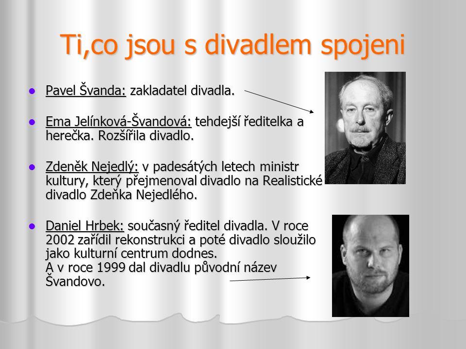 Ti,co jsou s divadlem spojeni  Pavel Švanda: zakladatel divadla.  Ema Jelínková-Švandová: tehdejší ředitelka a herečka. Rozšířila divadlo.  Zdeněk