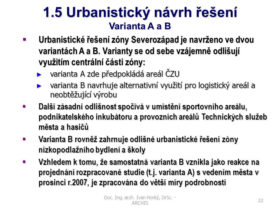 Doc. Ing. arch. Ivan Horký, DrSc. - ARCHIS 22 1.5 Urbanistický návrh řešení Varianta A a B  Urbanistické řešení zóny Severozápad je navrženo ve dvou