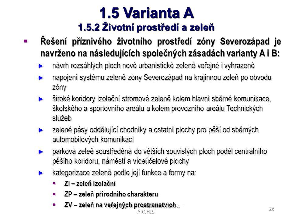Doc. Ing. arch. Ivan Horký, DrSc. - ARCHIS 26 1.5 Varianta A 1.5.2 Životní prostředí a zeleň  Řešení příznivého životního prostředí zóny Severozápad