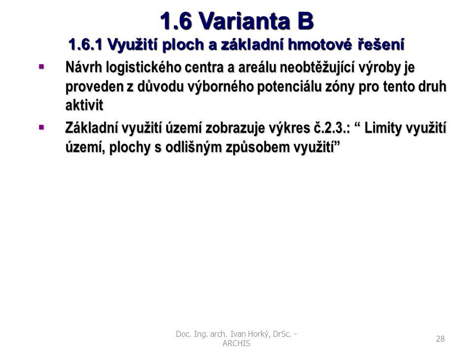 Doc. Ing. arch. Ivan Horký, DrSc. - ARCHIS 28 1.6 Varianta B 1.6.1 Využití ploch a základní hmotové řešení  Návrh logistického centra a areálu neobtě