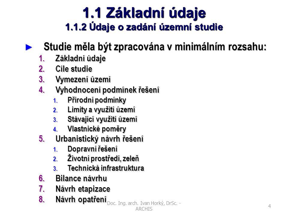 Doc. Ing. arch. Ivan Horký, DrSc. - ARCHIS 4 1.1 Základní údaje 1.1.2 Údaje o zadání územní studie ► Studie měla být zpracována v minimálním rozsahu: