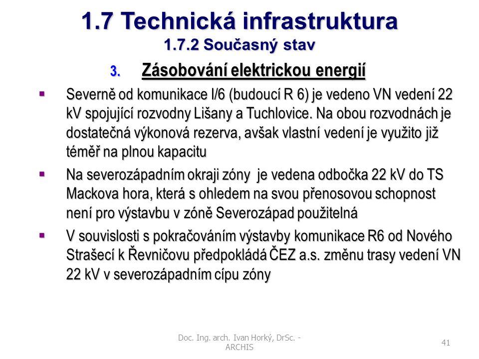 Doc. Ing. arch. Ivan Horký, DrSc. - ARCHIS 41 1.7 Technická infrastruktura 1.7.2 Současný stav 3. Zásobování elektrickou energií  Severně od komunika