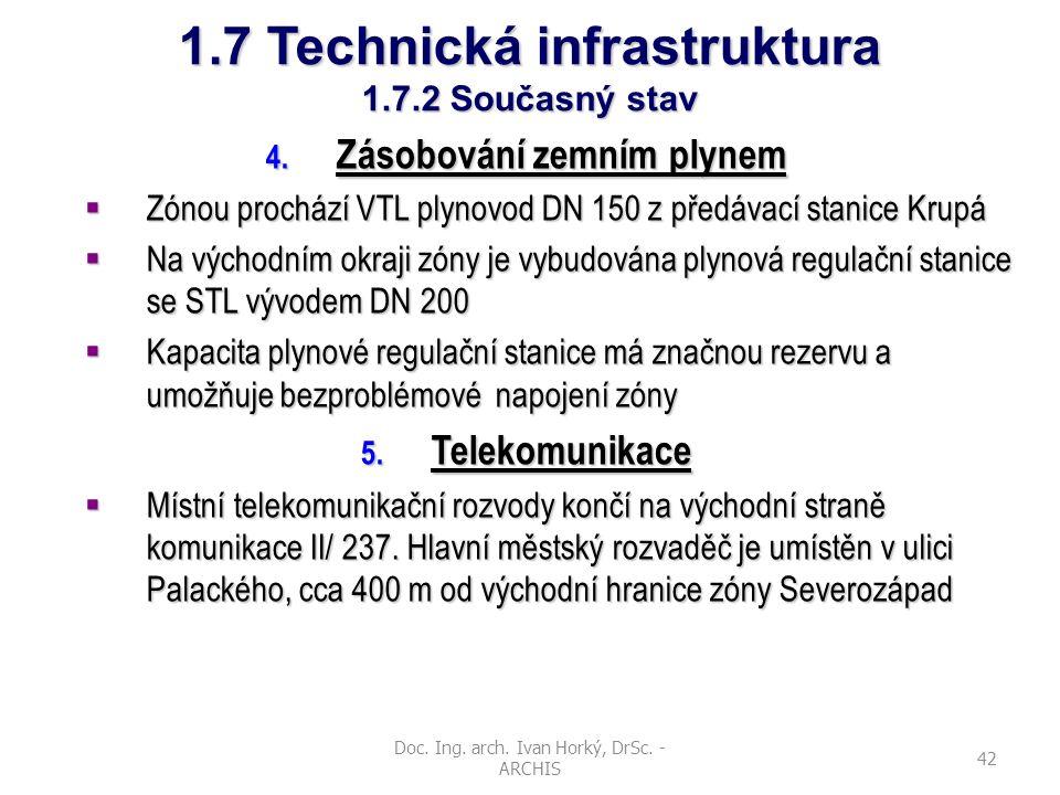 Doc. Ing. arch. Ivan Horký, DrSc. - ARCHIS 42 1.7 Technická infrastruktura 1.7.2 Současný stav 4. Zásobování zemním plynem  Zónou prochází VTL plynov
