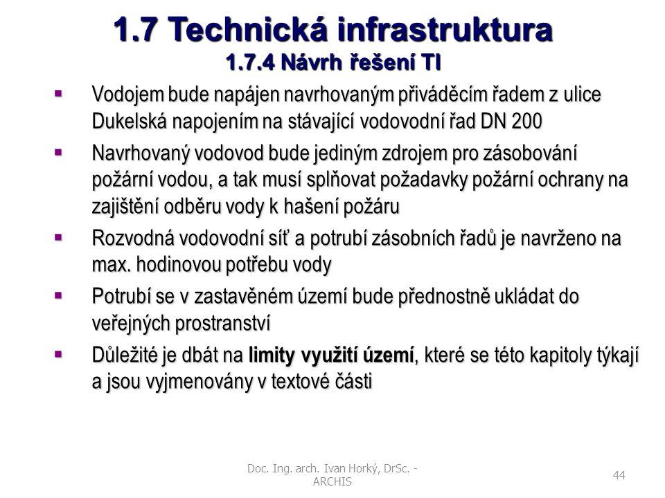 Doc. Ing. arch. Ivan Horký, DrSc. - ARCHIS 44 1.7 Technická infrastruktura 1.7.4 Návrh řešení TI  Vodojem bude napájen navrhovaným přiváděcím řadem z