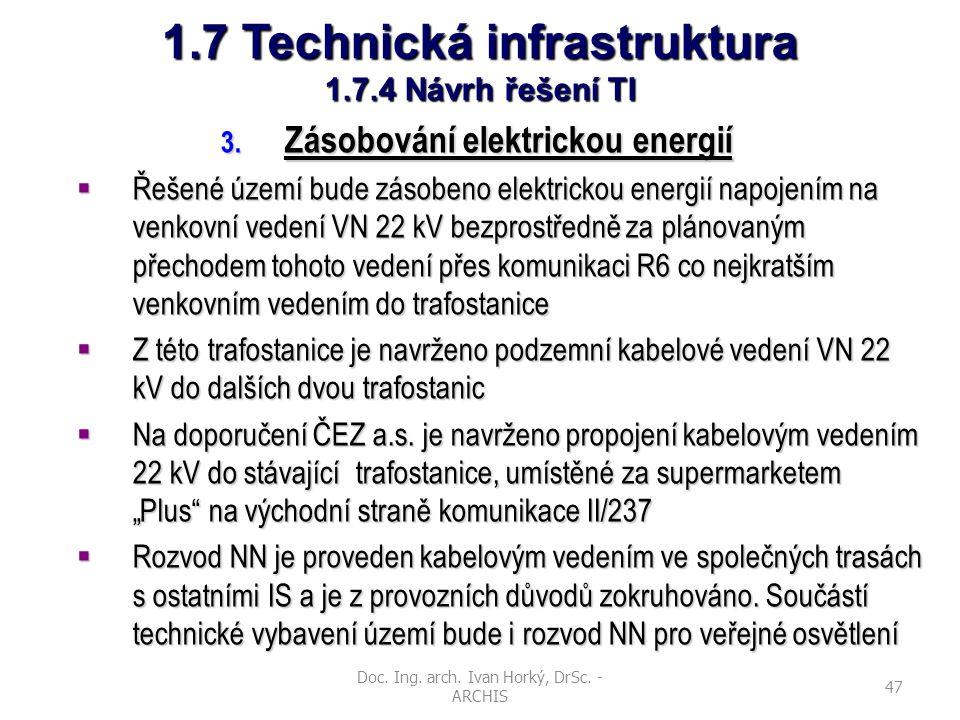Doc. Ing. arch. Ivan Horký, DrSc. - ARCHIS 47 1.7 Technická infrastruktura 1.7.4 Návrh řešení TI 3. Zásobování elektrickou energií  Řešené území bude