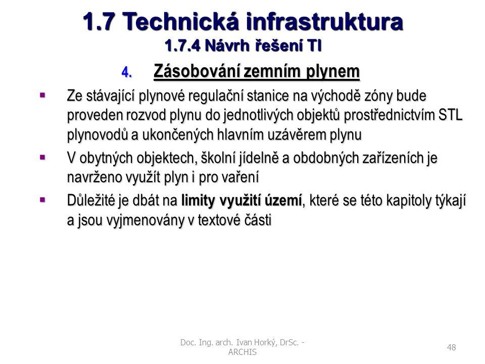 Doc. Ing. arch. Ivan Horký, DrSc. - ARCHIS 48 1.7 Technická infrastruktura 1.7.4 Návrh řešení TI 4. Zásobování zemním plynem  Ze stávající plynové re