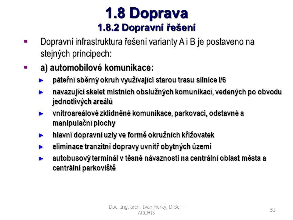 Doc. Ing. arch. Ivan Horký, DrSc. - ARCHIS 51 1.8 Doprava 1.8.2 Dopravní řešení  Dopravní infrastruktura řešení varianty A i B je postaveno na stejný